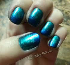 My Metallic Gradient Nails A Dark Turquoise To Navy Blue Using China Glaze Deviantly Daring