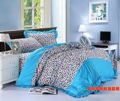 Blue leopard print korean bowknot bow ruffle turquoise bedding set