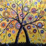 Flowers Abstract Art Modern Garden Flowering Tree Painting