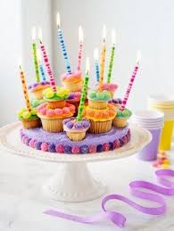 Fun burst of color birthday cupcakes & candles
