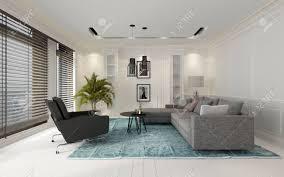 komfortable und moderne weiß wohnzimmer innenraum mit einem sofa und stühle auf einem blauen teppich auf einem holzboden durch große fenster mit