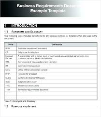Business Requirements Template Word Sample
