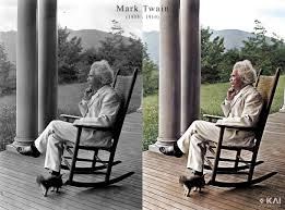 Mark Twain In A Rocking Chair On A Porch With His Cat ...