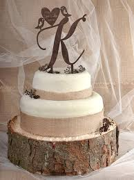 Rustic Cake Topper Wood Monogram Tpper Birds Wedding Love