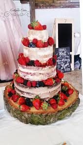 Naked Wedding Cake With Vanilla Red Velvet Chocolate Tiers A Fresh Berries And Gold