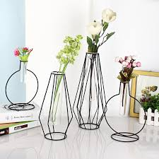 100 Flannel Flower Glass Vase Holder Plant Display With Iron Stand And Tube For Hydroponics Ornament Decorations In Different Size