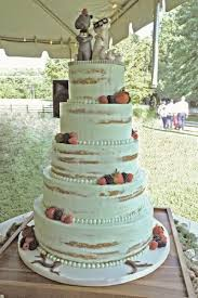 Mint Color Naked Wedding Cake With Fresh Berries