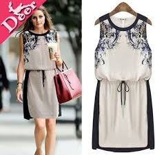 High Quality New 2014 Womens Gradient Embroidery Formal Flower Printed Dress Casual Teenage Girls Fashion Vestido Curto On Sale