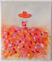 tableau moderne femme robe coloree 13 sur toile format 55x46