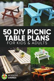free diy picnic table plans for kids and adults