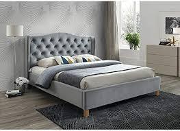 sellon24 signal polsterbett doppelbett ehebett grau samt bezug gesteppt 160x200 schlafzimmer bett luxuriös aspen velvet grau