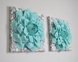 Home Decor Wall Art Aqua And Gray Flower Damask Hangings Bathroom