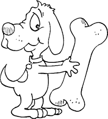 Dog With A Seriously Large Bone Coloring Page