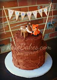 Deer Fox Rustic Chocolate Birthday Cake With Bunting 2