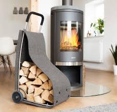 feuerholzkorb mit rädern kaminholz wagen fahrbar brennholz ständer filz grau