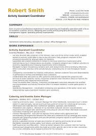 Activity Assistant Coordinator Resume Sample