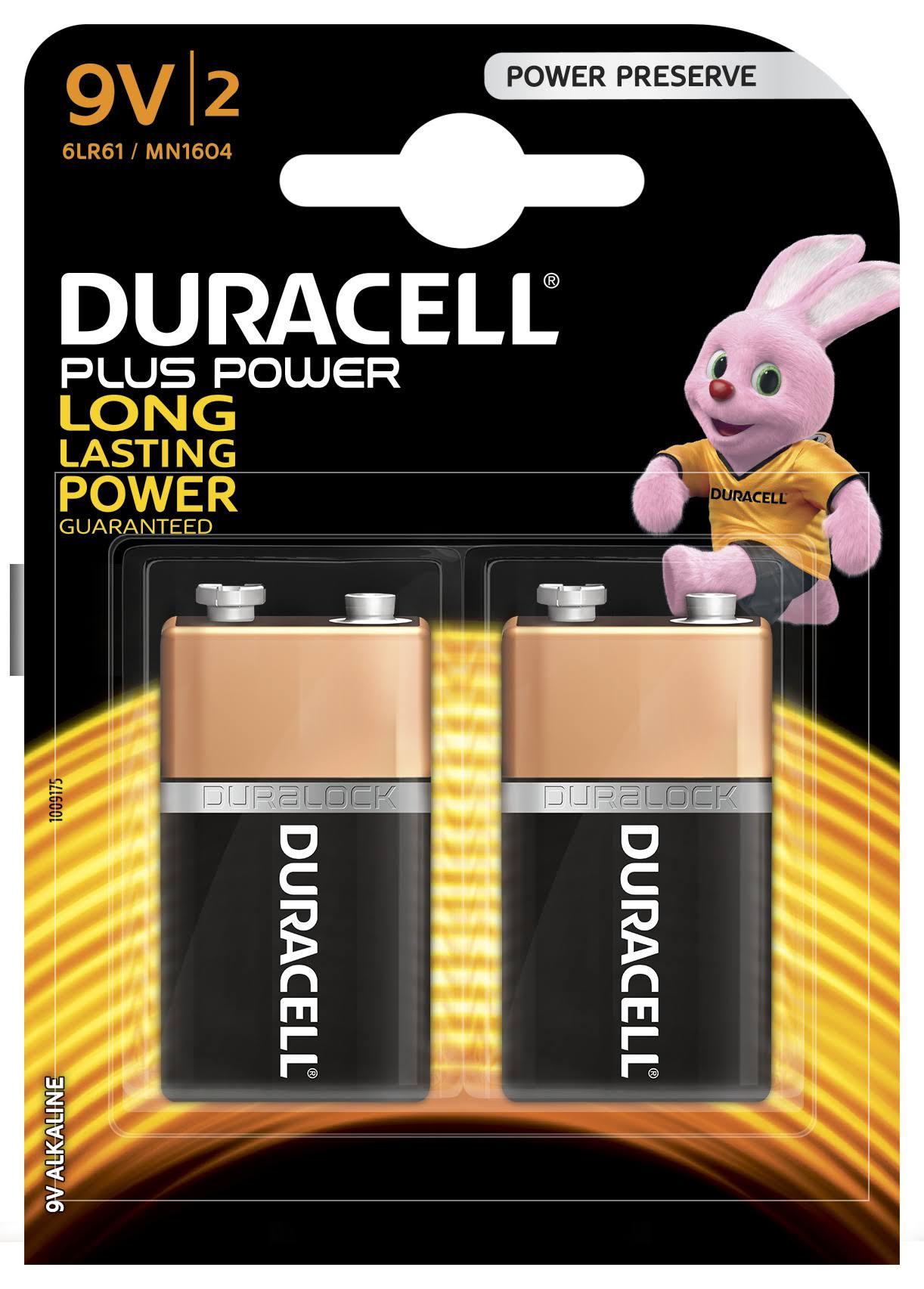 Duracell Plus Power Alkaline Batteries - 9V, 2pk