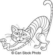 Cat Stretching For Coloring Book