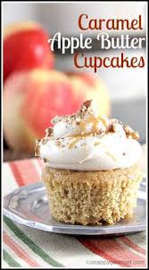 Caramel Apple Butter Cupcakes easy homemade cupcake recipe perfect for fall SnappyGourmet