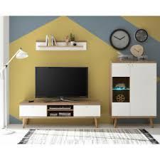 details zu kleine wohnwand weiß eiche retro design wohnzimmer anbauwand mediawand lowboard