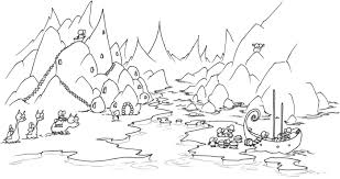 Coloring Page An Arctic Penguin Village