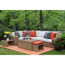 Patio Furniture Conversation Sets Home Depot by Ae Outdoor Arizona 8 Piece All Weather Wicker Patio Sectional With