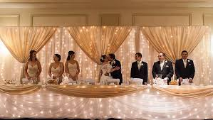 Wedding Decorator Edmonton Set Up This Fairylight Backdrop And Head Table