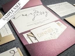 Modern Calligraphy Wedding Invitations Purple Invitation Eggplant And Gold Pocket Invite