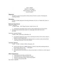Free Download Sample Resume Examples For Preschool Teacher Assistant Of