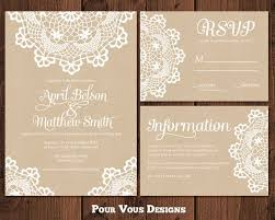 Rustic Doily Wedding Invitation Set