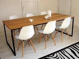 großer esstisch basic nio 240x100cm industrieller tisch moderne handgefertigte tische für esszimmer massiv eichenholz tischplatte
