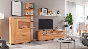 interliving wohnzimmer serie 2006 wohnwand v13104 kernbuche optiwhite vierteilig breite ca 329 cm