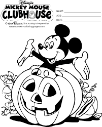 Mickey Mouse Halloween Coloring Pages Black White