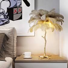 luxus straußen feder tisch le nordic moderne voll kupfer schlafzimmer nachttisch le wohnzimmer dekoration schreibtisch licht