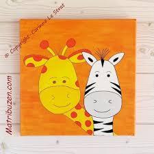 tableau pour chambre bébé tableau enfant bébé savane jungle girafe et zèbre