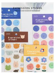 emotional diary series kawaii travel stickers flowers expression deco stickers ablum diy korean stationery sticker label