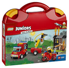 Amazon.com: LEGO Juniors Fire Patrol Suitcase 10740 Toy For 4-7-Year ...