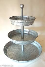 POTTERY BARN Rivet Galvanized Metal 3 Tier Stand NEW