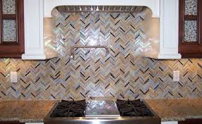 rainbow herringbone pattern lunada bay tile used in backsplash