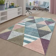 kurzflor teppich bunt wohnzimmer muster mix rauten design 3