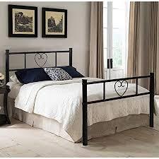 eggree einzelbett metallbett einzel bett metall bettgestell mit lattenrost für gästezimmer schlafzimmer bett in schwarz herz symbol muster 90 x 190cm