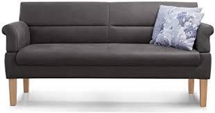 cavadore 3 sitzer sofa mit federkern sitzbank für küche esszimmer inkl armteilfunktion 189 x 94 x 81 kunstleder grau