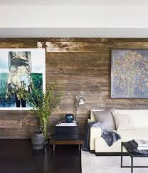 Shabby Chic Living Room With Rustic Wood Paneled Wall