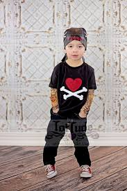 Fake Tattoo Sleeve Shirt With Valentine Heart And Crossbones Applique By TotTude On Etsy