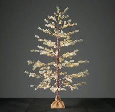 Restoration Hardware Birch Tree 2 New 3 Faux Pine Starlit Flocked Trees Led Lights