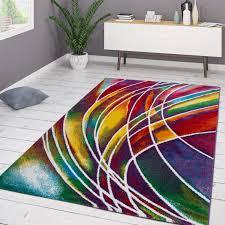 designer teppich bunt multicolour streifen lila gelb rot