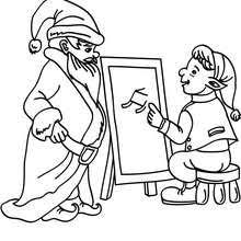 Christmas Elf Proposing New Sleigh Ultrasonic Projects To Santa Claus Coloring Page