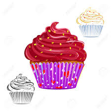 Chocolate swirl cupcake set isolated on white Chocolate topping muffin outline line drawing