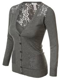 candie u0027s women u0027s lacy long sleeve button cardigan charcoal 7