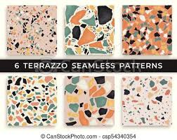 Six Seamless Terrazzo Patterns Hand Crafted And Unique Vector Repeating Background Granite Textured Shapes In Vibrant Colors